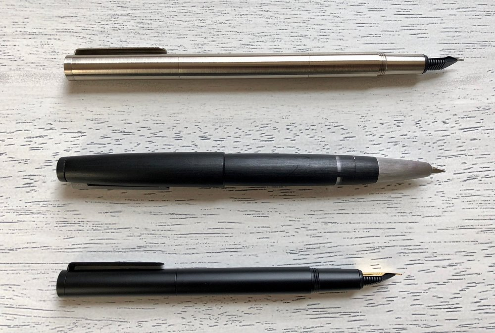Pocket Fountain Pen with optional extender (top), Lamy 2000 (middle), Pocket Fountain Pen without optional extender (bottom).