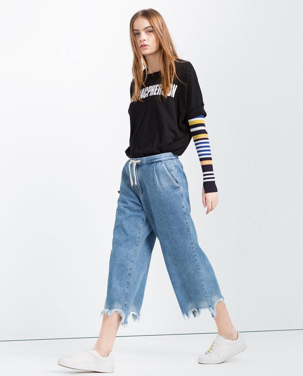 Zara Frayed Denim Culottes £19.99