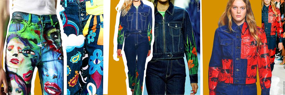 Neuw Jeans painted by Dan Vient, Anna Sui, Adam Selman, Calvin Klein