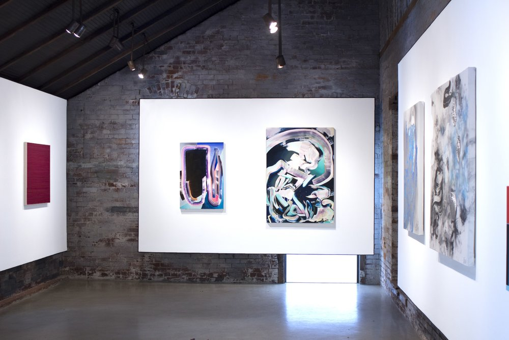 Installation view with paintings by (l to r) Lars Strandh, Karen Seapker, and Richard Feaster.