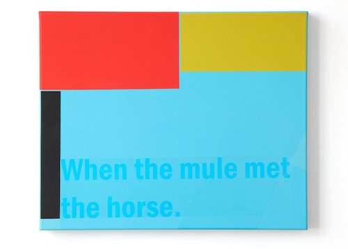 Patrick DeGuira,  Labor Painting (When the Mule met the Horse) , 2013; acrylic on canvas, 18 by 22 inches.