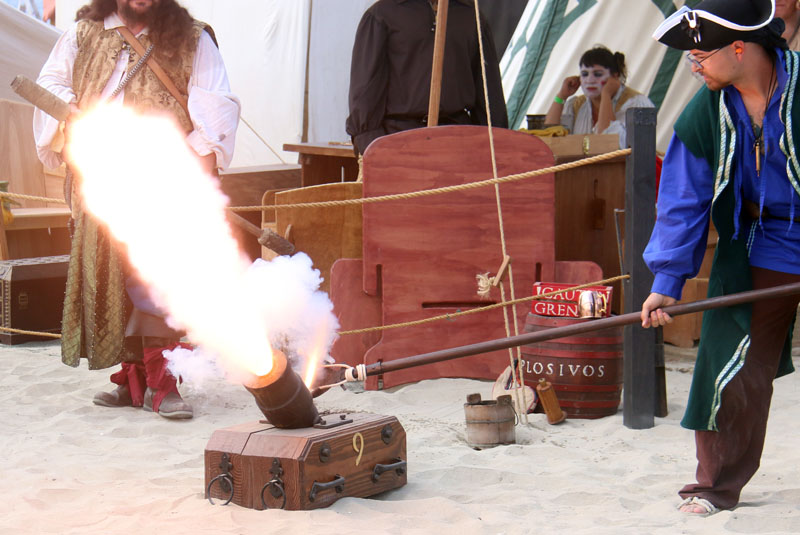 Firing the No. 9 mortar at the Pirate invasion of belmont pier.
