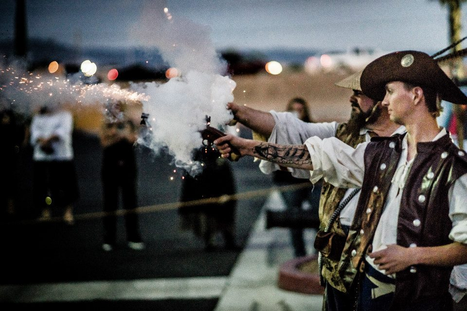 "pistol firing; ""Jack & The pirate Attack"" Book release party (Photo courtesy: vic mendoza)"