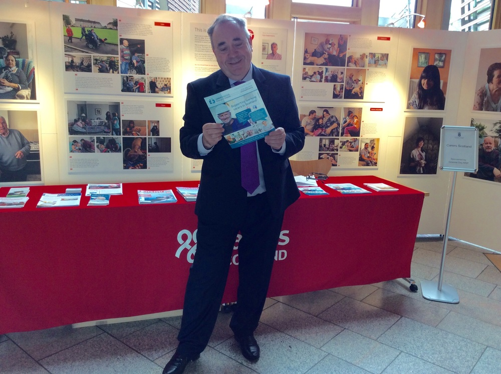 At the Carers Scotland stand at the Scottish Parliament