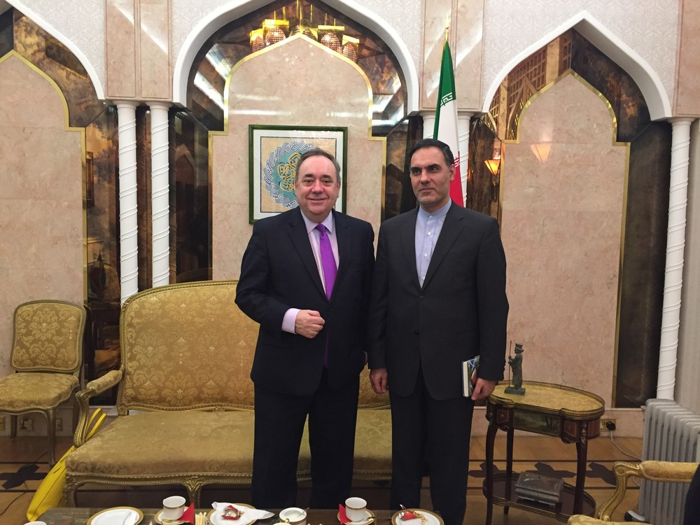 With the Iranian ambassador,Mohammad Hassan Habibollahzadeh at the Embassy in London.