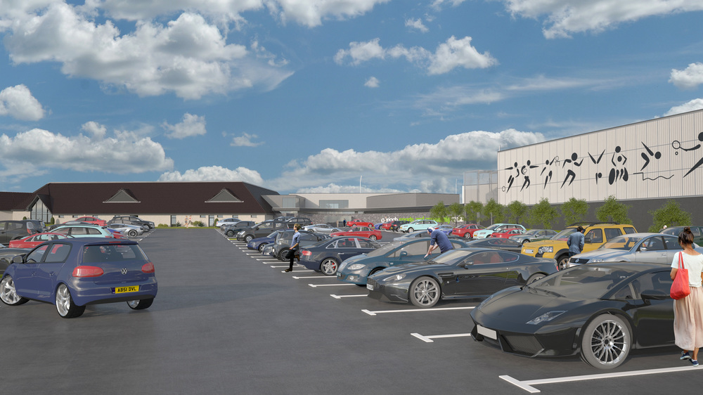 View across car park. Photo: Lippe Architects + Planners Ltd