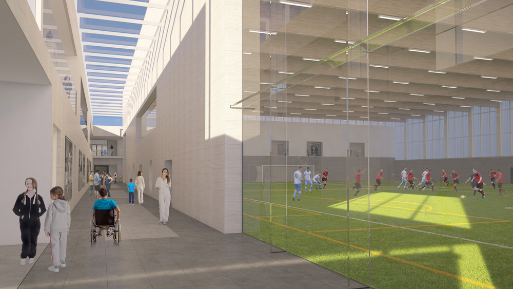 View along Sport Boulevard. Photo: Lippe Architects + Planners Ltd