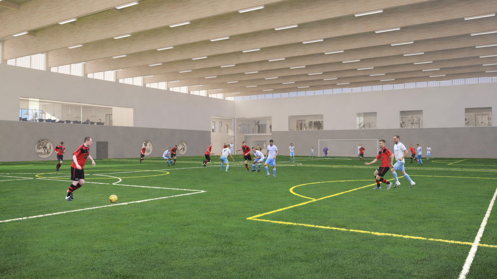 View across Sports Barn.  Photo: Lippe Architects + Planners Ltd