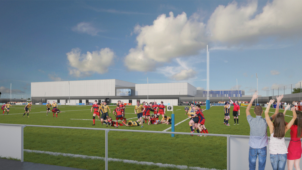 View across Hybrid Pitch. Photo: Lippe Architects + Planners Ltd