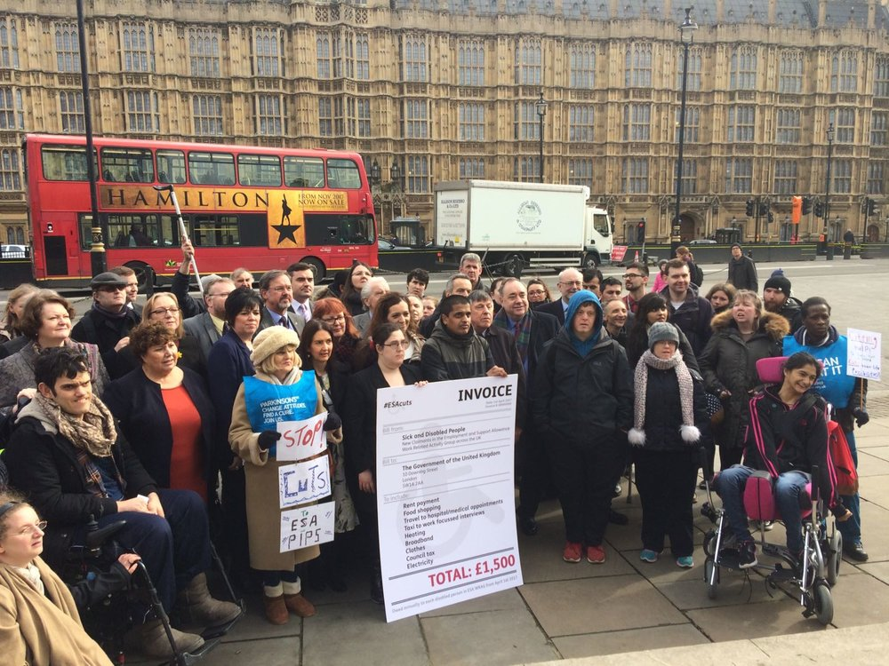 Mr Salmond outside Parliament with the Disability Benefit's Consortium protesting against the changes to PIPs