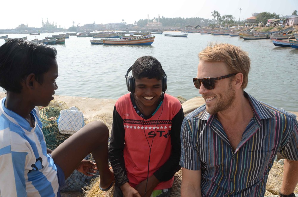 Cassidy from the fisheries team and the SISP kids having fun filming on the weekend in their hometown of Vizhinjam.