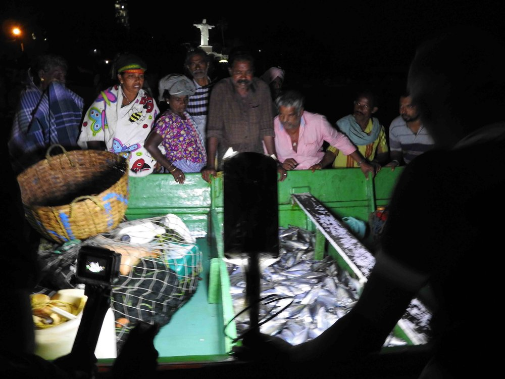 Local buyers and traders survey the haul from the night-long catch in the early hours before dawn.