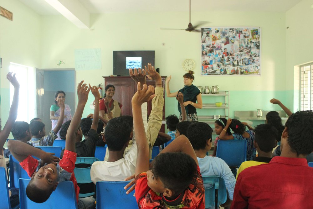 One of our waste management Ambassadors, Liberty, teaching the kids about marine pollution at our partner school;  Sebastian Indian Social Projects .
