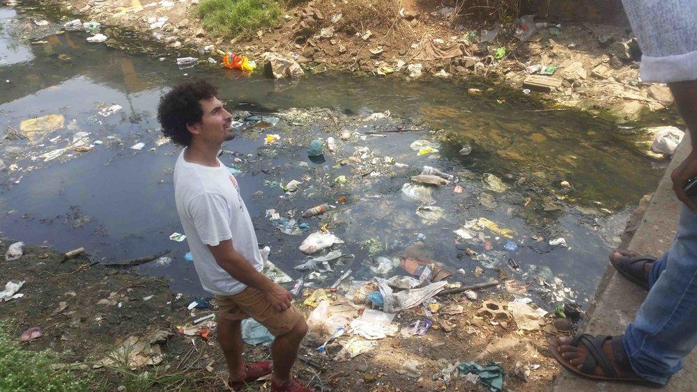 Matthieu examining the estuary mouth of Gangaya River in Vizhinjam.