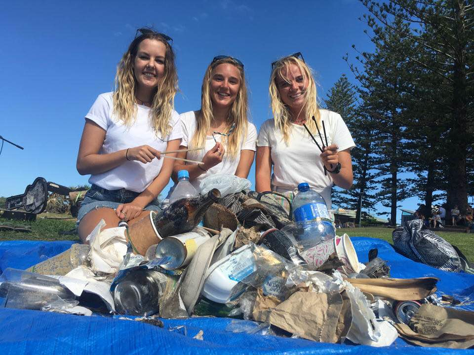From left to right - Tara Elliott (Events Coordinator), Zoe White (Byron Bay Coordinator) and Louisa Andersen (Activ8 for the Ocean Education Programs Coordinator) sorting through a haul at Main Beach in Byron Bay.
