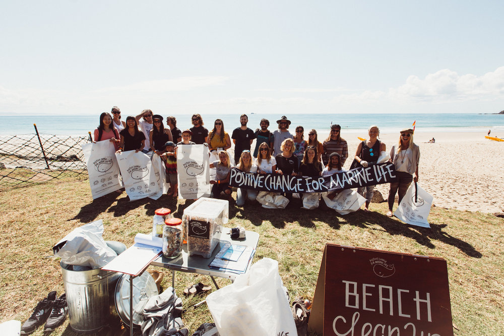 Our volunteer team in Byron Bay at one of our regular beach surveys.