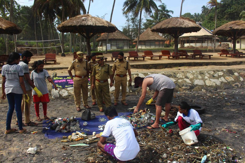 The team cleaning up the local beaches. We sort and categorise our findings to assist with our long-term research, which will help to address the waste issue at its source.