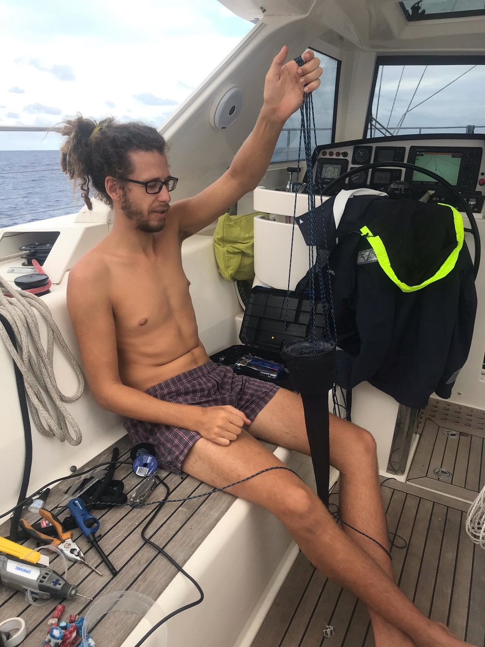 Rafa testing out some of our home-made marine debris trawling devices