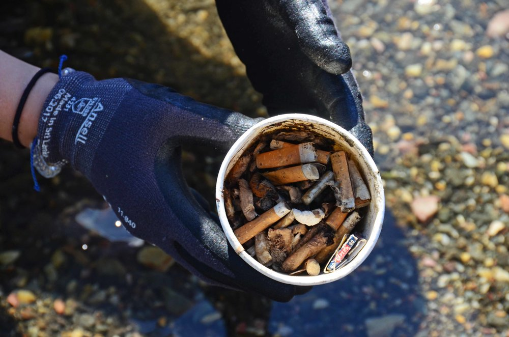 Cigarette butts continue to be one of the most found items for our team, whether on land or on the water.