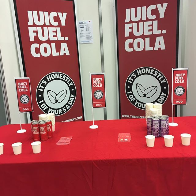 "Juicy Fuel Cola is attending the ""Signature Food and Drink Show"" at the Derby Velodrome, Pride Park today. Catching up with new and existing customers, spreading the healthy drink gospel 😀 #healthydrink  #healthylifestyle  #goodfriends"