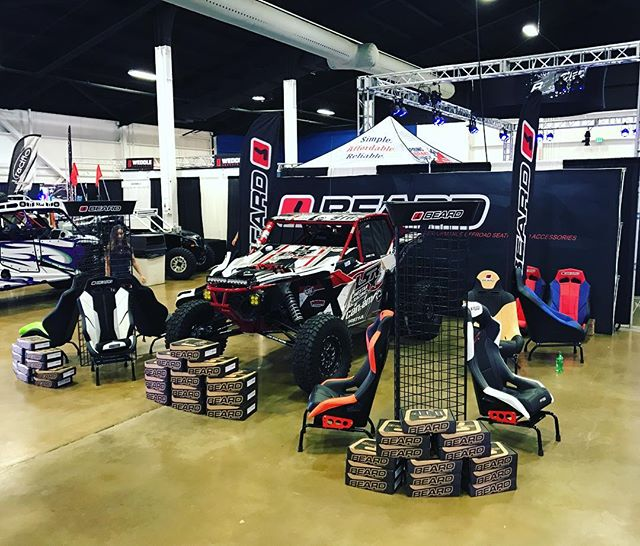 All setup for the @sandsportssupershow swing by and talk custom seats and accessories for your off-road machines. shows starts at 4pm-10pm, 9am-7pm saturday, and 9am-4pm sunday. #teambeard #sandshowweekend