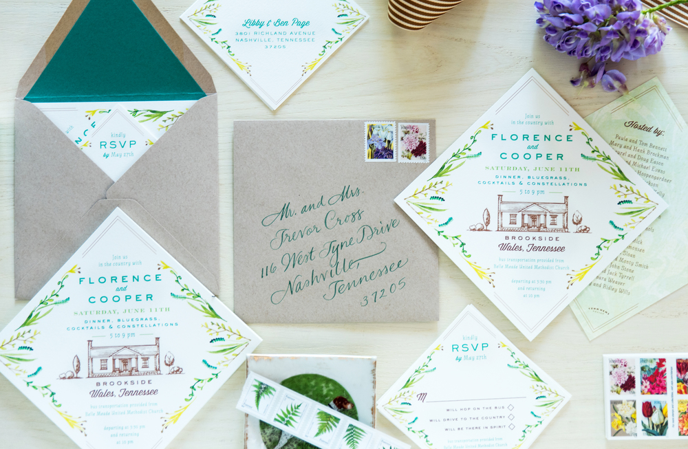 Full invitation suite with custom illustrations and calligraphy by Val Cole.