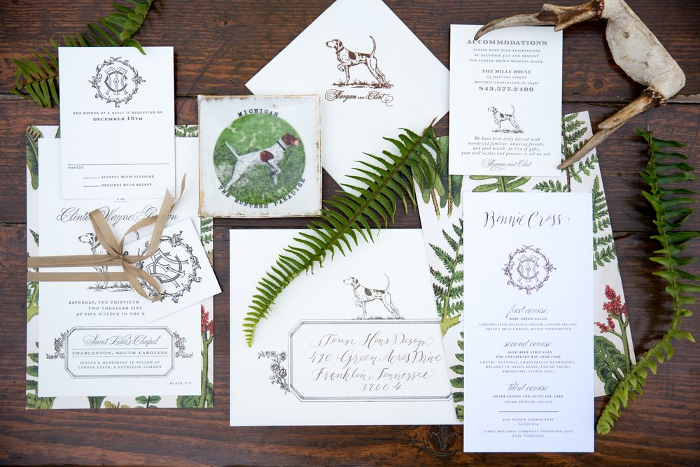 pointer dog wedding suite letterpress stationery