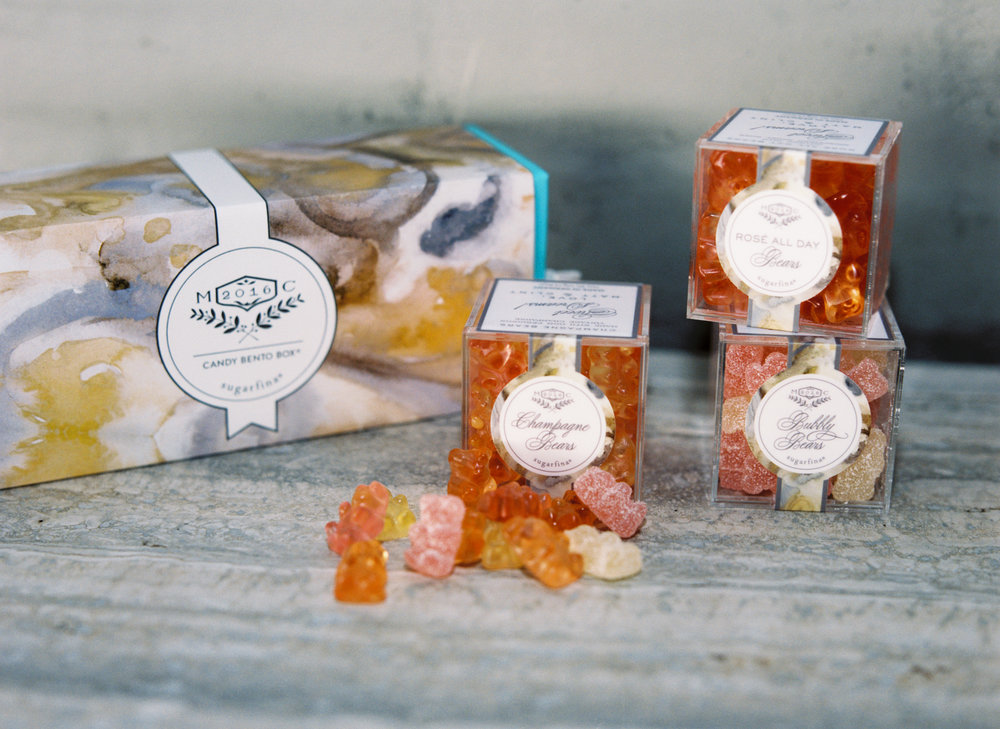 Sugarfina Gummy Bear favors w/ custom designed packaging, were given as parting gifts.