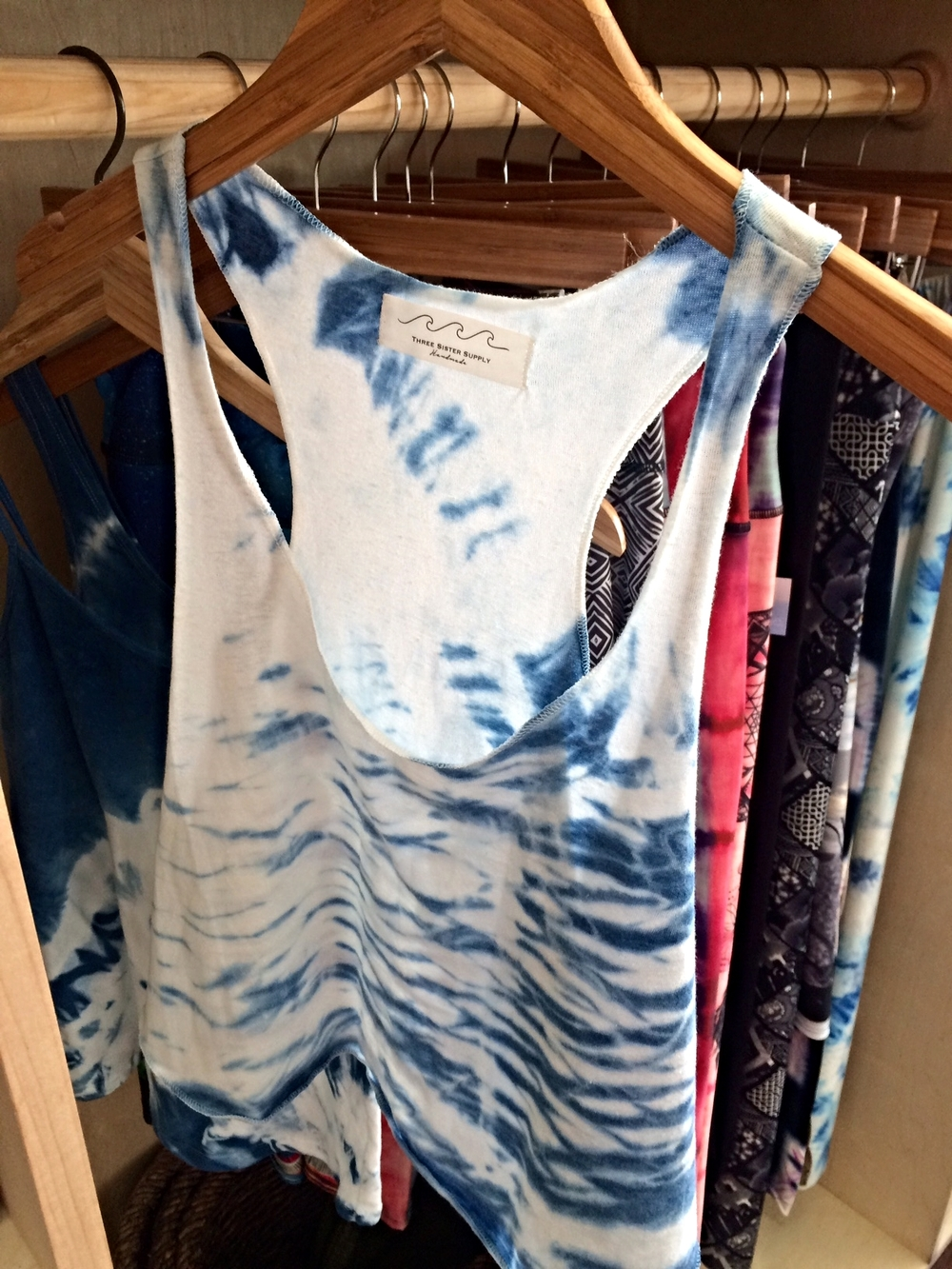 Our Shibori tanks are paired with fun yoga pants at Shatki Yoga Key West.