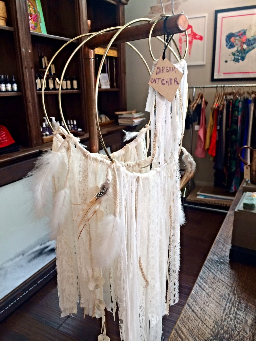 Large and small dreamcatchers on display at Shatki Yoga Key West.