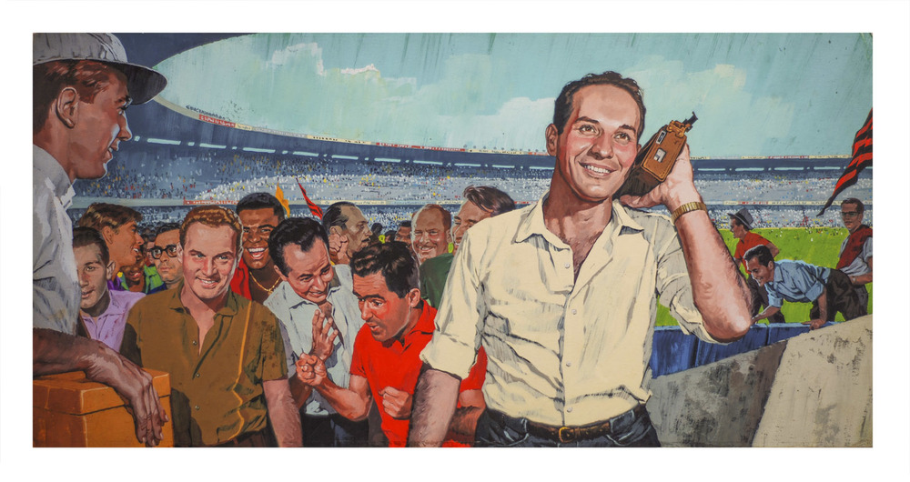 Benício, de camisa azul, rodeado por amigos em uma de suas obras