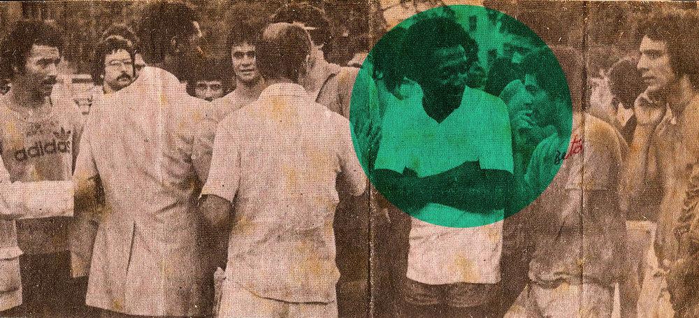 """Na posse de Didi (de costas, de terno), como treinador da Máquina Tricolor, em 75, onde Zé Roberto fala no ouvido de PC: """"chegou um aqui mais elegante que você!"""""""