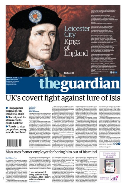 A capa do jornal The Guardian