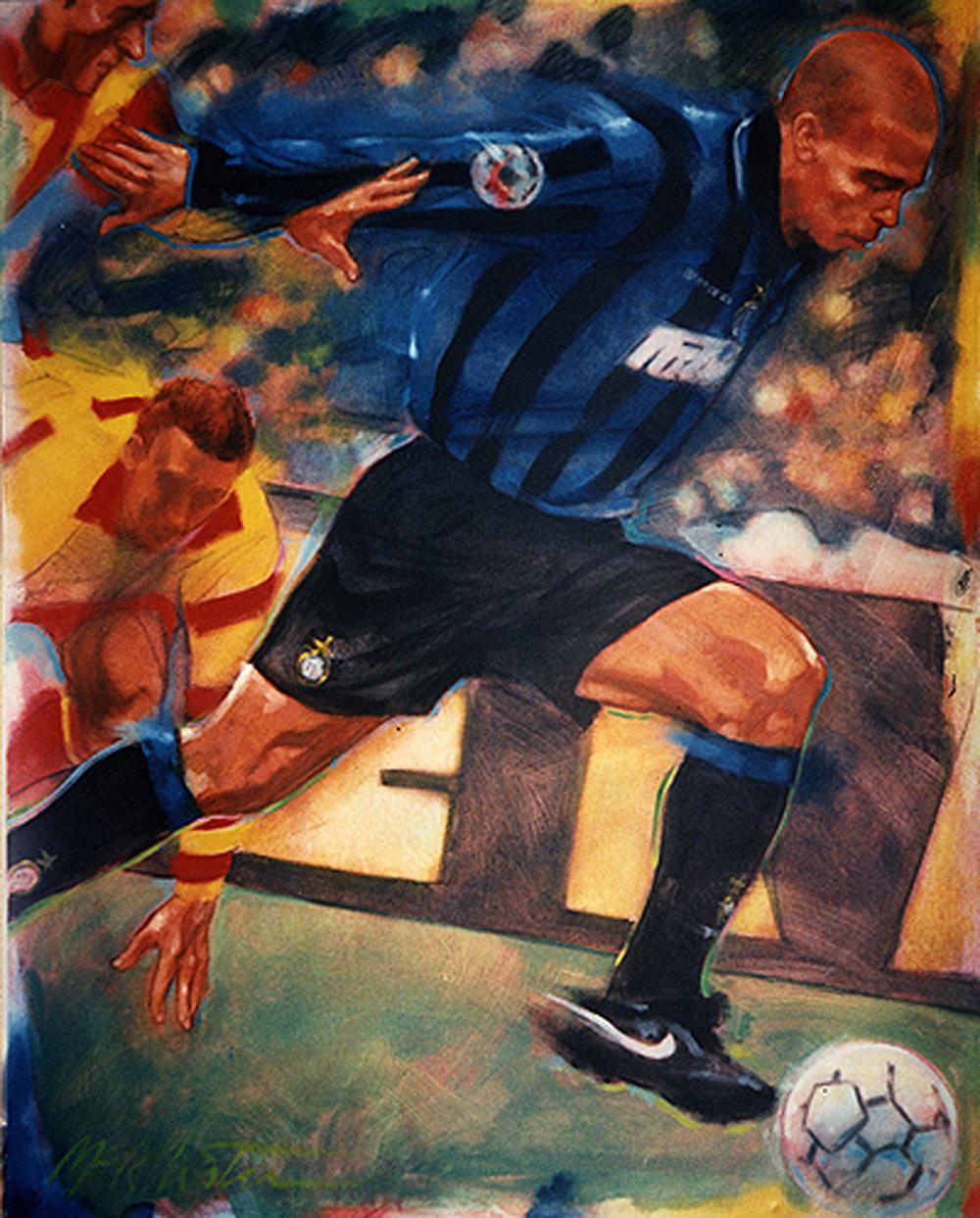 O desenho de Ronaldo quando atuava no futebol italiano