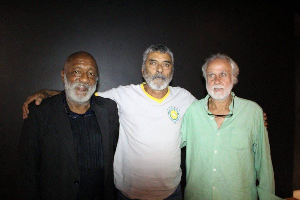 Protagonistas do filme, PC Caju, Nei Conceição e Afonsinho posam para foto