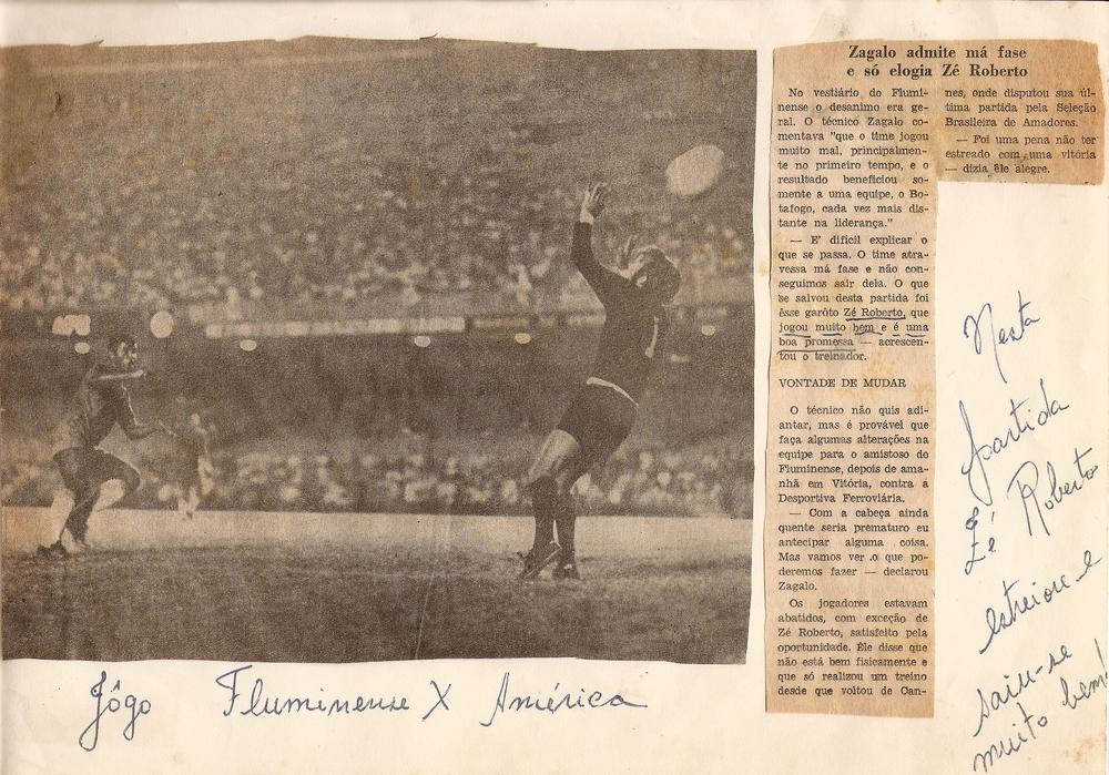 Elogio de Zagallo a Zé Roberto foi destaque nos jornais