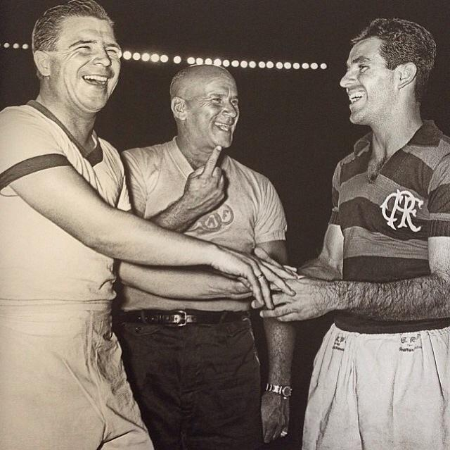 Mario Vianna, Evaristo e Puskas antes da partida Flamengo x Honved da Hungria, em 1957.