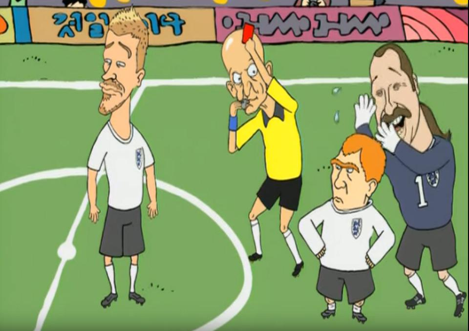 """Beckham, Colina, Owen e Seaman: cena clássica do clipe """"Shoot the Dog"""""""