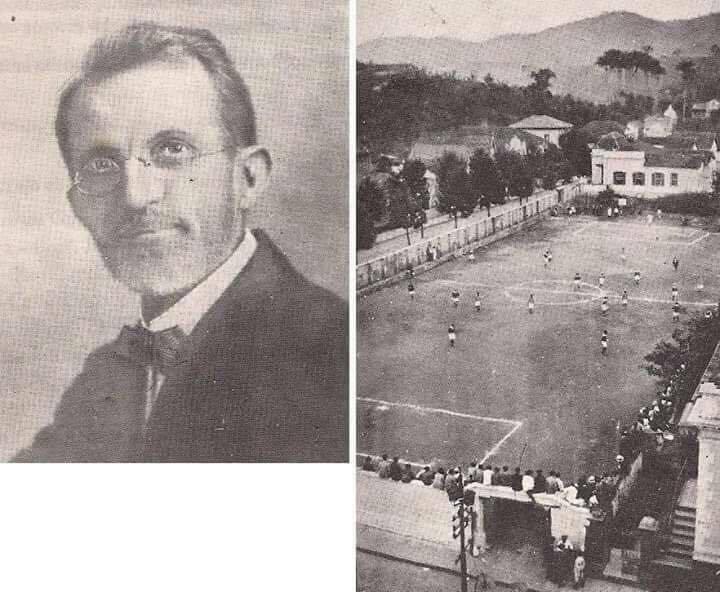 O professor Lander e o antigo campo de futebol do Granbery.