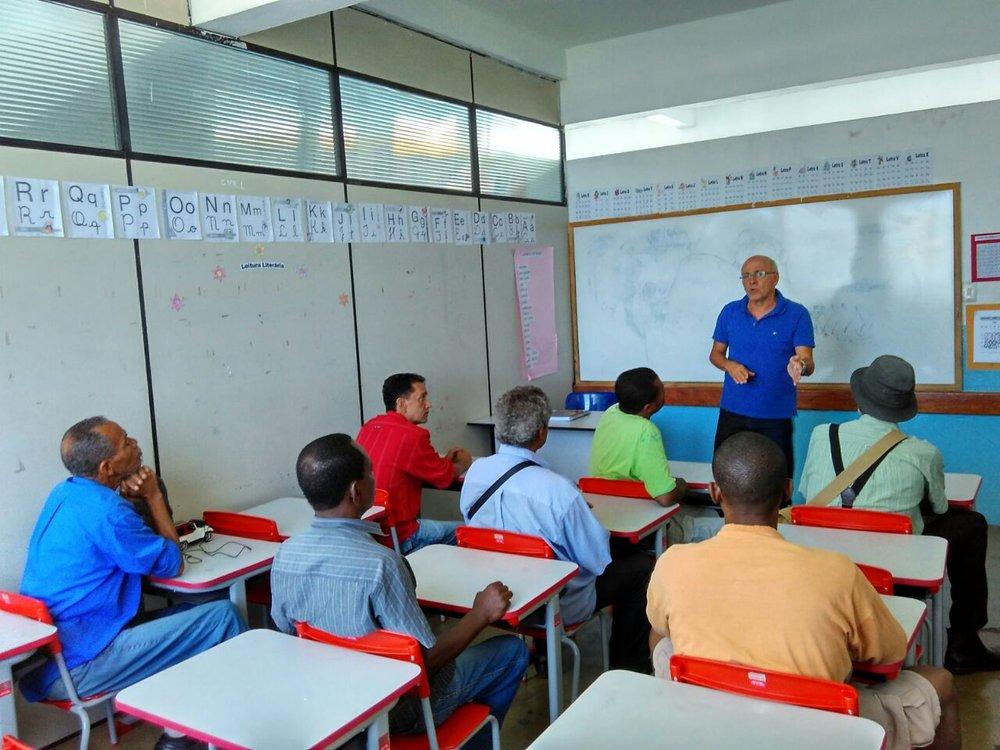 Zé Roberto dando sua primeiro aula
