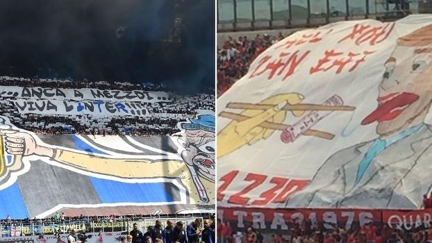 Torcedores de Inter e Milan protestaram contra o horário do clássico