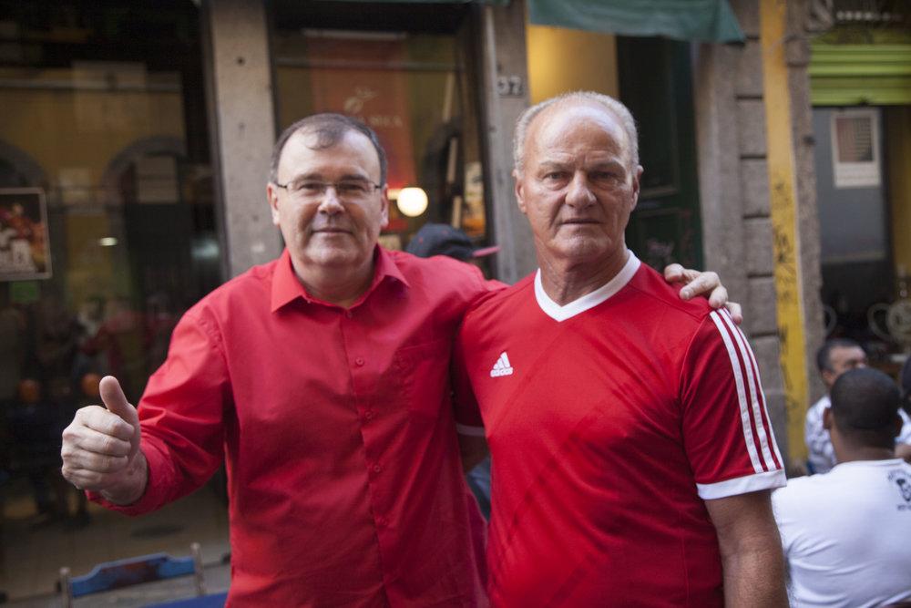 O escritor Silvio Kohler e o zagueirão Alex
