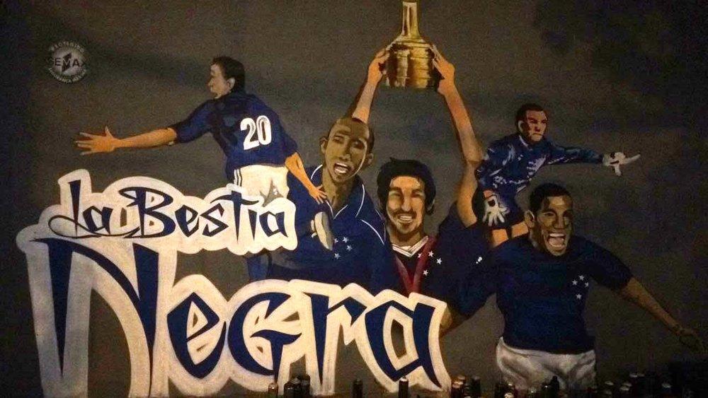 Ilustração da Libertadores no Barro Preto (bairro da sede do Cruzeiro)