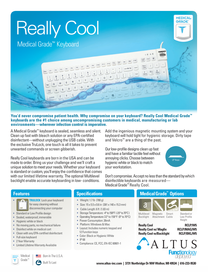 Medical Grade Keyboard Sell Sheet