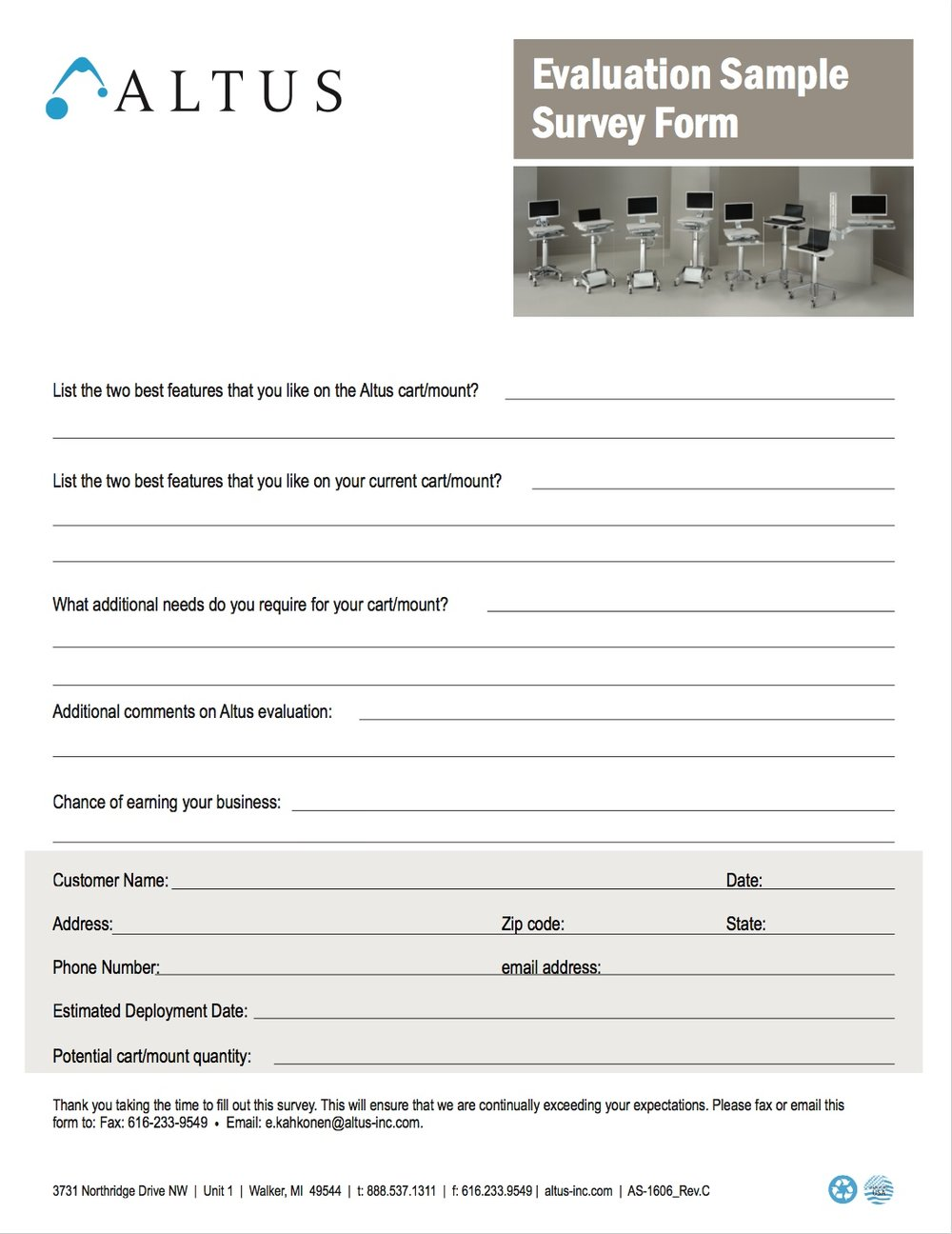 Evaluation Survey Form