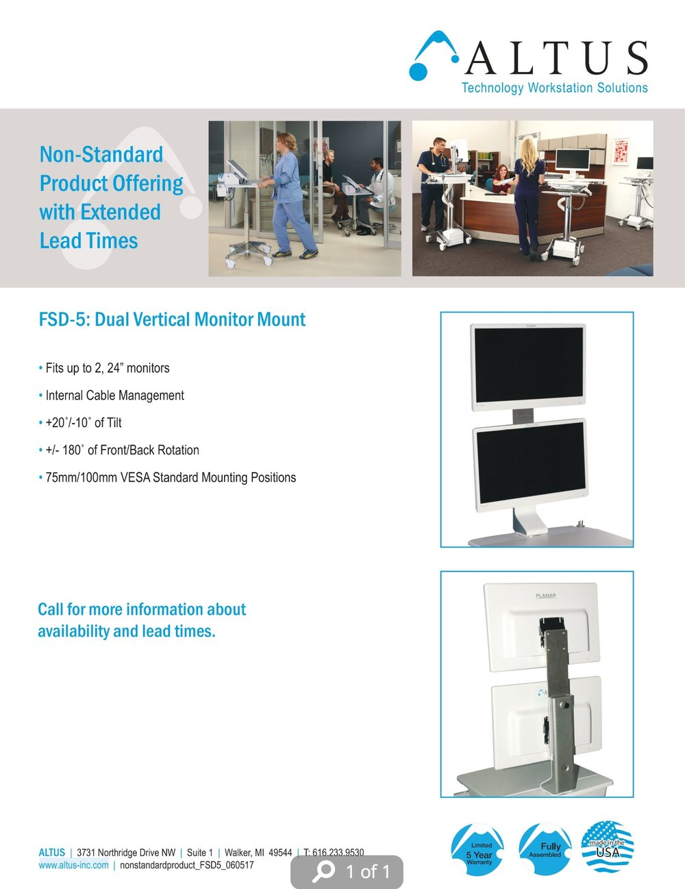 FSD-5 Non-Standard Vertical Dual Monitor Mount