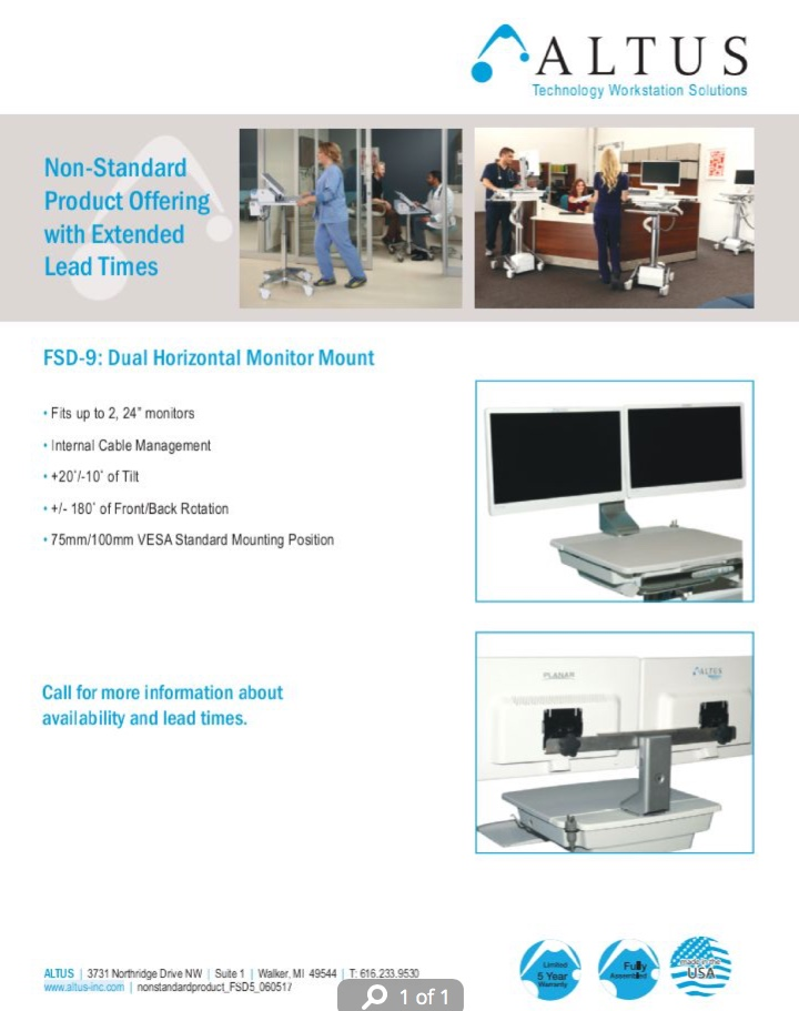 FSD-9 Non-Standard Horizontal Dual Monitor Mount