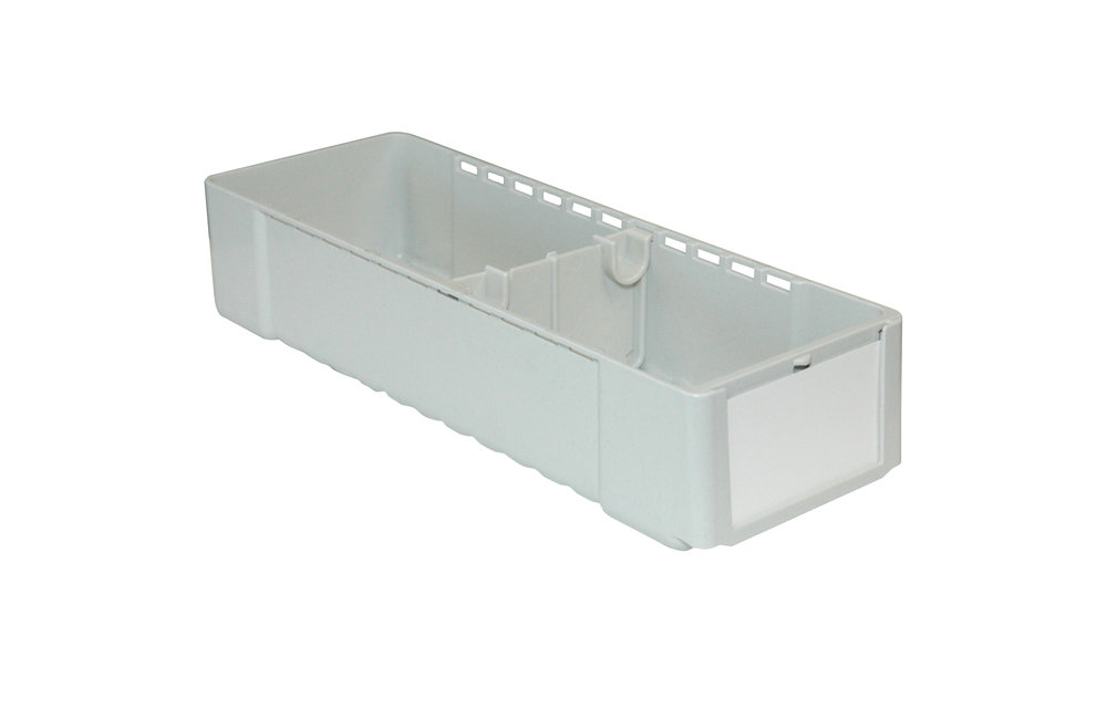 "MB-1 (6-Pack) - ClioMed Bins MB-6 (1 Bin) - ClioMed Single Bin - Dims: 4.35""W x 2.62""H x 12.372""D - Front Label Insert Area fits business card size label (sold separately) - Includes (2) adjustable bin dividers - White Finish"