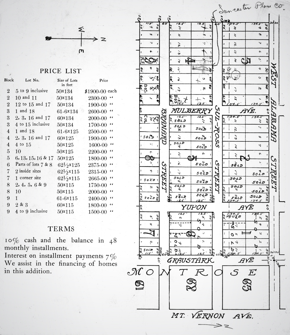 Price List.   Image courtesy of Houston Public Library, HMRC: MSS 0118-B03F39