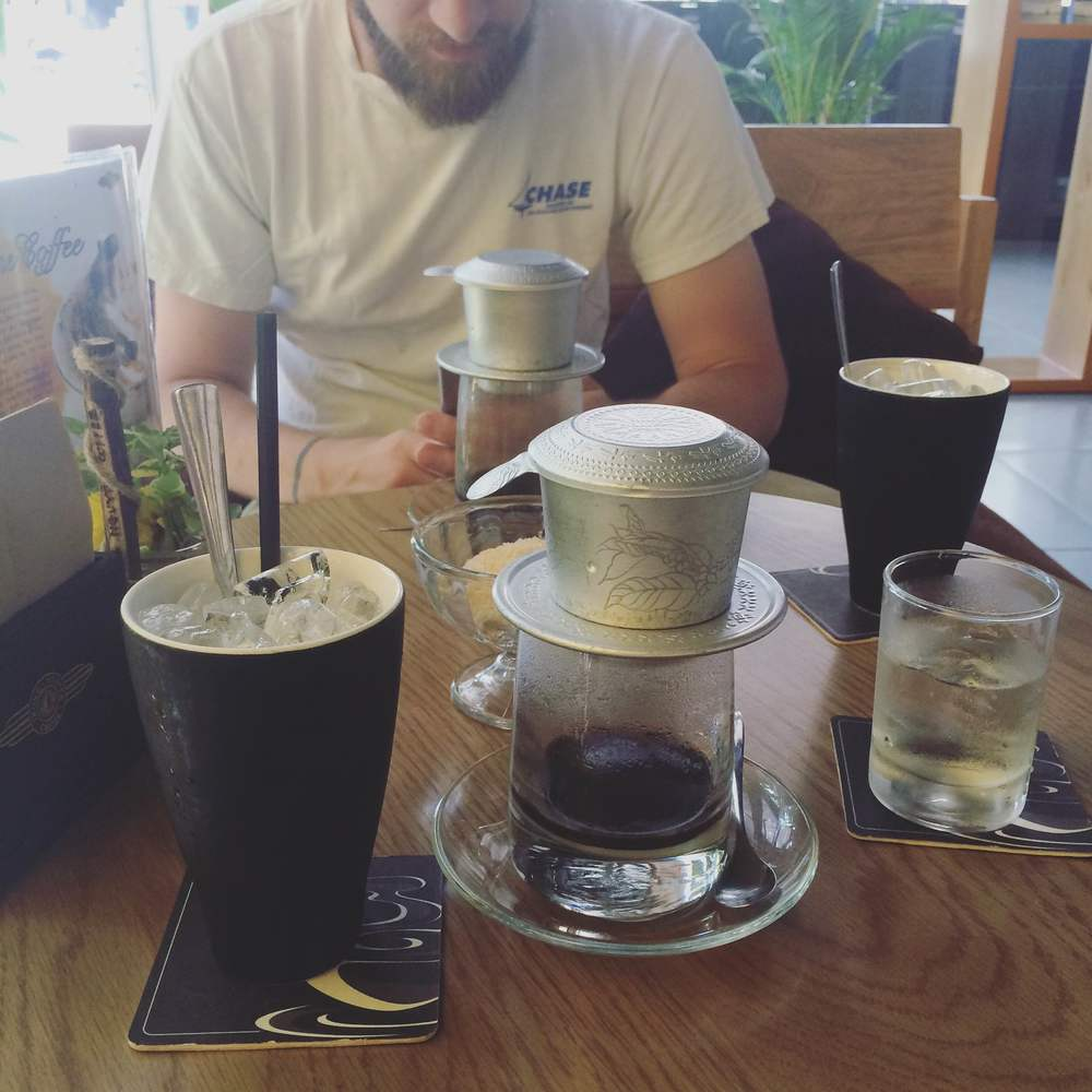 getting coffee! This is how it's made here, drip coffee brews then you pour it over ice